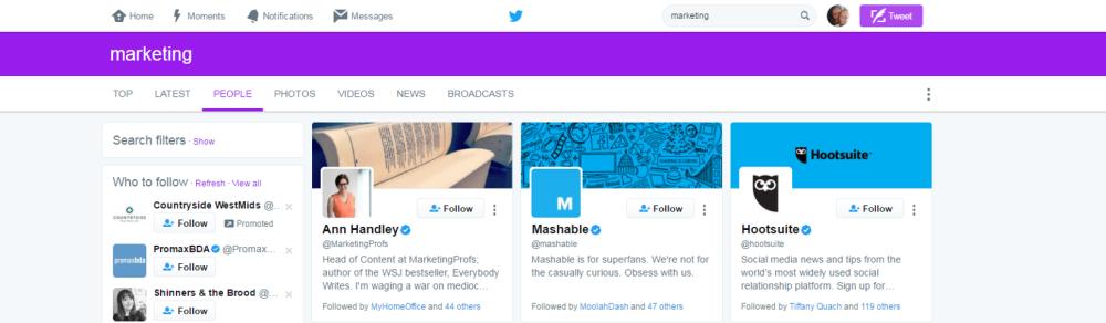 follow people on twitter